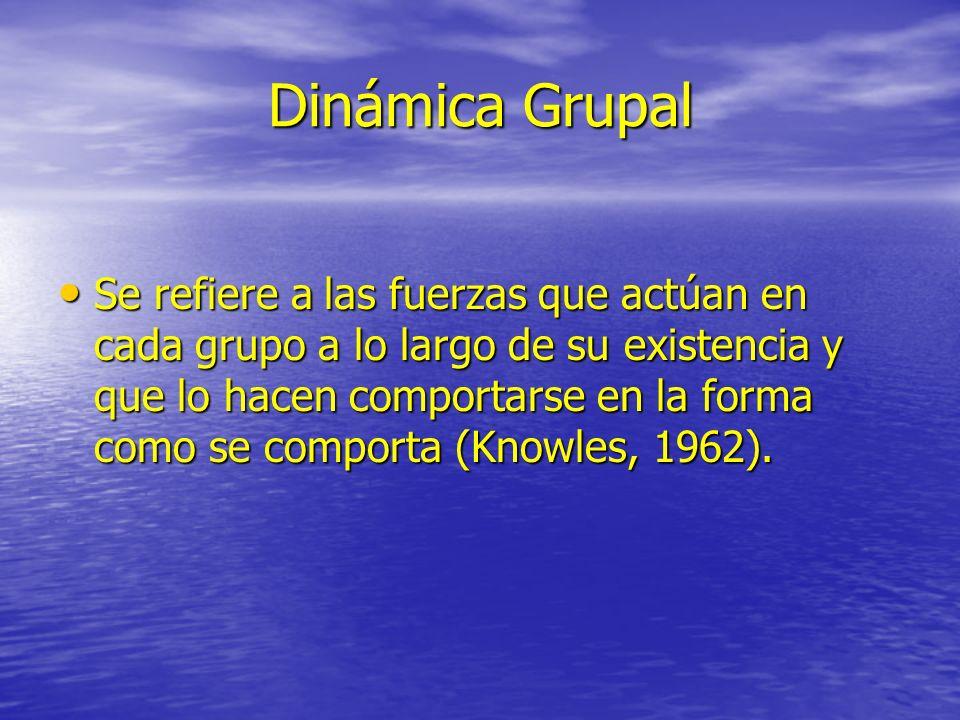 Dinámica Grupal Se refiere a las fuerzas que actúan en cada grupo a lo largo de su existencia y que lo hacen comportarse en la forma como se comporta