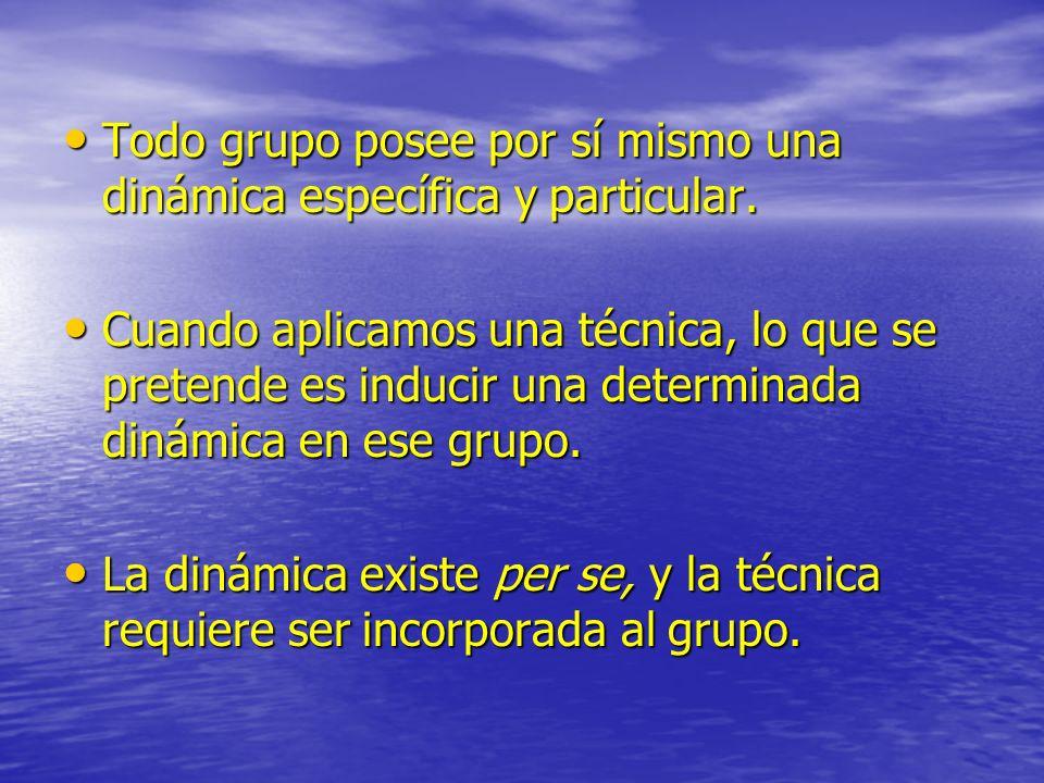 Todo grupo posee por sí mismo una dinámica específica y particular. Todo grupo posee por sí mismo una dinámica específica y particular. Cuando aplicam