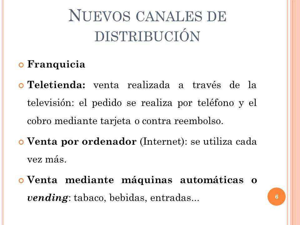 N UEVOS CANALES DE DISTRIBUCIÓN Franquicia Teletienda: venta realizada a través de la televisión: el pedido se realiza por teléfono y el cobro mediante tarjeta o contra reembolso.
