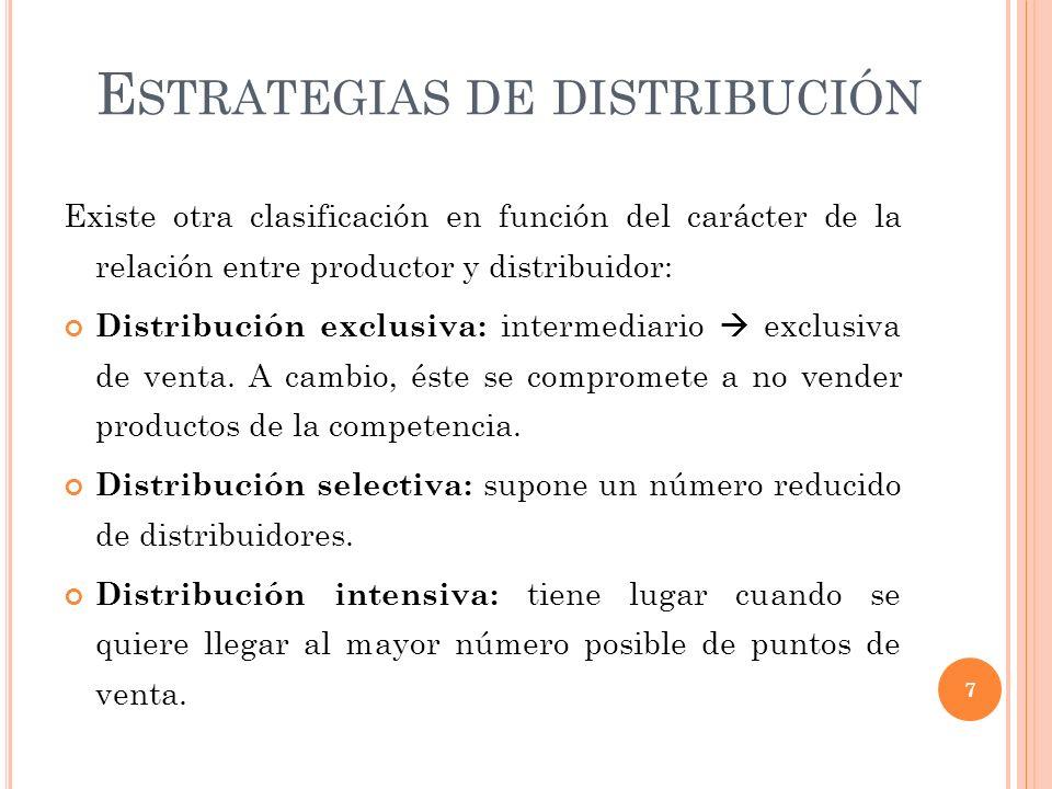 E STRATEGIAS DE DISTRIBUCIÓN Existe otra clasificación en función del carácter de la relación entre productor y distribuidor: Distribución exclusiva: intermediario exclusiva de venta.