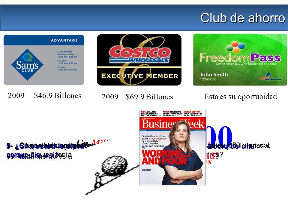 2009 $46.9 Billones 2009 $69.9 Billones Club de ahorro Un Millón de segundos = 12 días Un Billón de segundos = 33 años Esta es su oportunidad 1- ¿En que otro lugar podemos comprar con estas tarjetas.