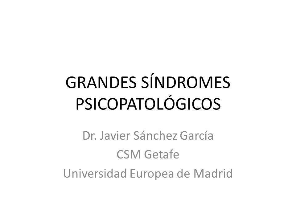 GRANDES SÍNDROMES PSICOPATOLÓGICOS Dr. Javier Sánchez García CSM Getafe Universidad Europea de Madrid