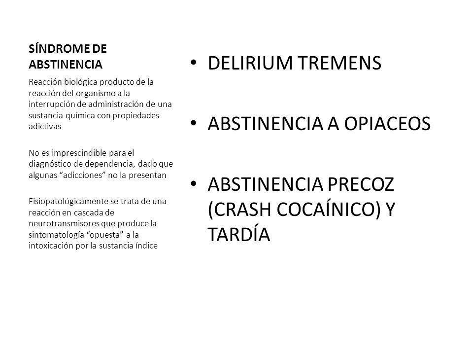 SÍNDROME DE ABSTINENCIA DELIRIUM TREMENS ABSTINENCIA A OPIACEOS ABSTINENCIA PRECOZ (CRASH COCAÍNICO) Y TARDÍA Reacción biológica producto de la reacci