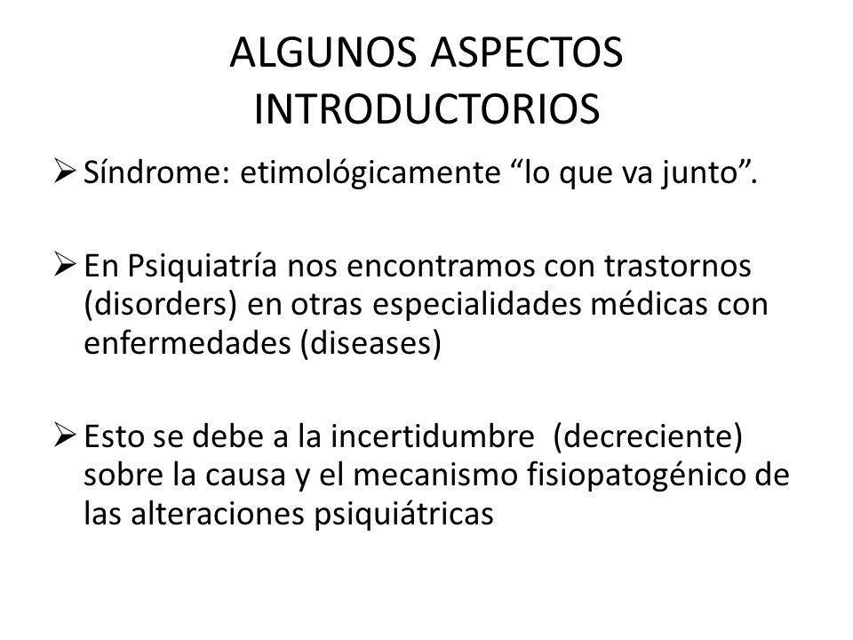 ALGUNOS ASPECTOS INTRODUCTORIOS Síndrome: etimológicamente lo que va junto. En Psiquiatría nos encontramos con trastornos (disorders) en otras especia