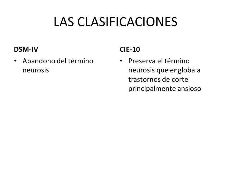 LAS CLASIFICACIONES DSM-IV Abandono del término neurosis CIE-10 Preserva el término neurosis que engloba a trastornos de corte principalmente ansioso