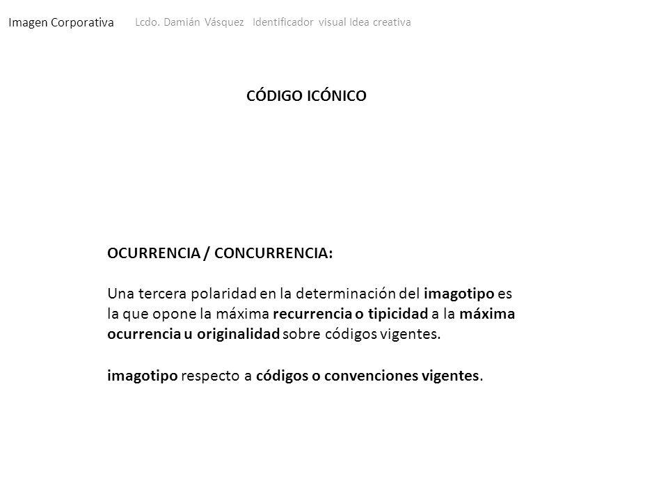 Imagen Corporativa Lcdo. Damián Vásquez Identificador visual Idea creativa CÓDIGO ICÓNICO OCURRENCIA / CONCURRENCIA: Una tercera polaridad en la deter