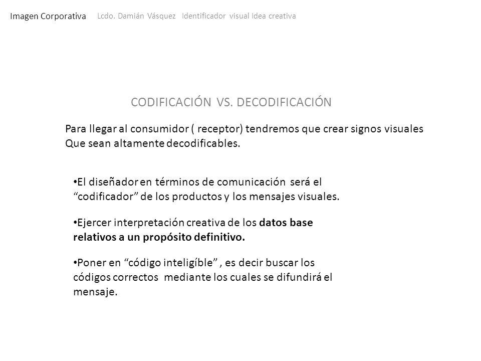 Imagen Corporativa Lcdo. Damián Vásquez Identificador visual Idea creativa Para llegar al consumidor ( receptor) tendremos que crear signos visuales Q