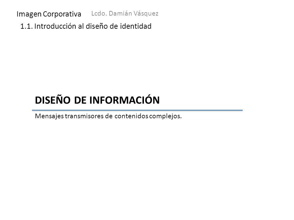 Imagen Corporativa Lcdo. Damián Vásquez 1.1. Introducción al diseño de identidad DISEÑO DE INFORMACIÓN Mensajes transmisores de contenidos complejos.