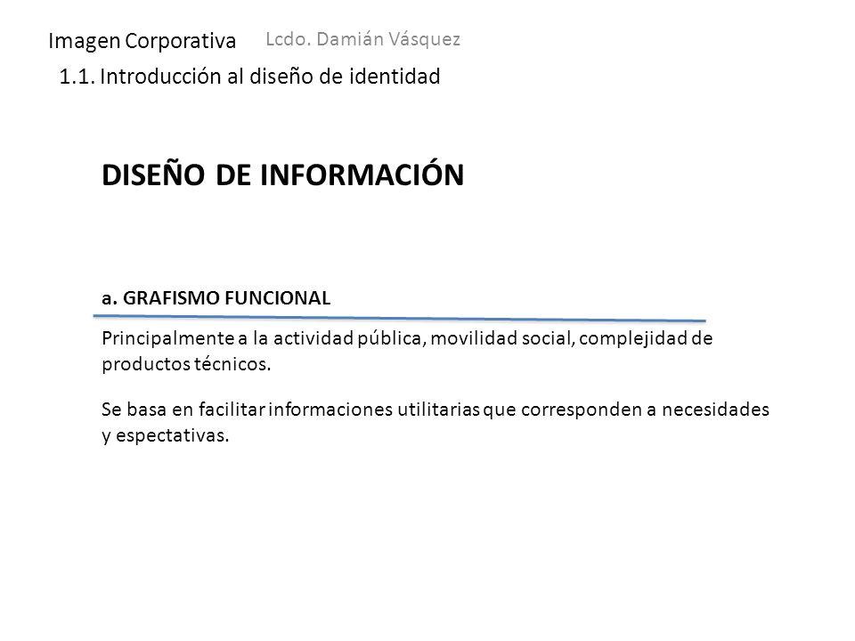 Imagen Corporativa Lcdo. Damián Vásquez 1.1. Introducción al diseño de identidad DISEÑO DE INFORMACIÓN a. GRAFISMO FUNCIONAL Principalmente a la activ