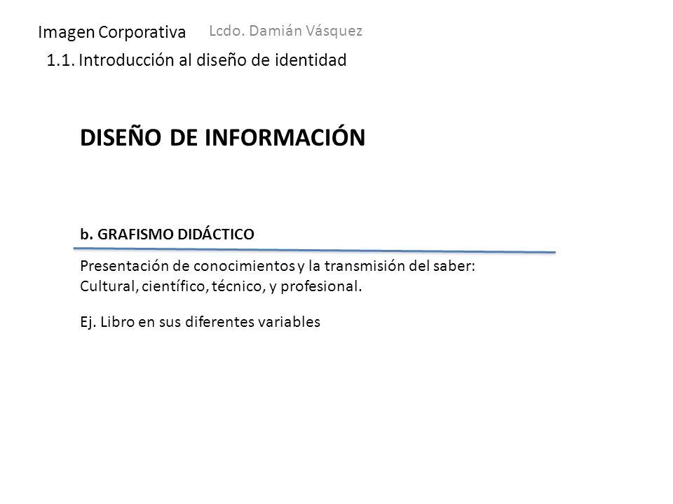 Imagen Corporativa Lcdo. Damián Vásquez 1.1. Introducción al diseño de identidad DISEÑO DE INFORMACIÓN b. GRAFISMO DIDÁCTICO Presentación de conocimie