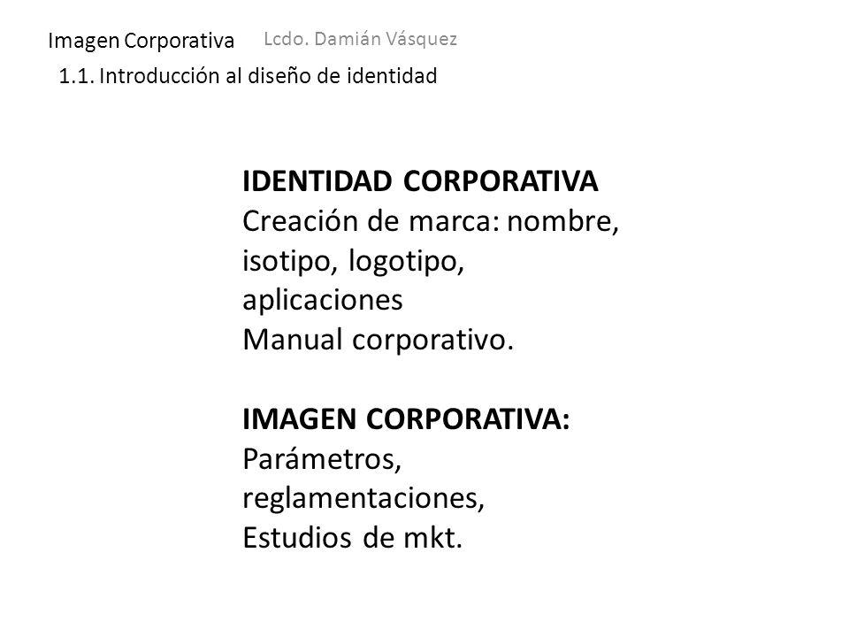 Imagen Corporativa Lcdo. Damián Vásquez 1.1. Introducción al diseño de identidad IDENTIDAD CORPORATIVA Creación de marca: nombre, isotipo, logotipo, a