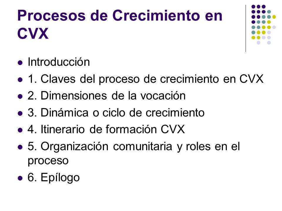 Introducción 1. Claves del proceso de crecimiento en CVX 2. Dimensiones de la vocación 3. Dinámica o ciclo de crecimiento 4. Itinerario de formación C