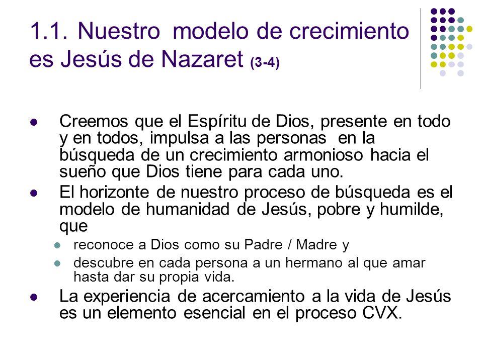 1.1.Nuestro modelo de crecimiento es Jesús de Nazaret (3-4) Creemos que el Espíritu de Dios, presente en todo y en todos, impulsa a las personas en la