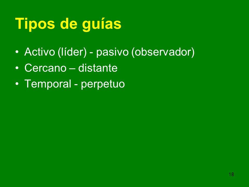 18 Tipos de guías Activo (líder) - pasivo (observador) Cercano – distante Temporal - perpetuo