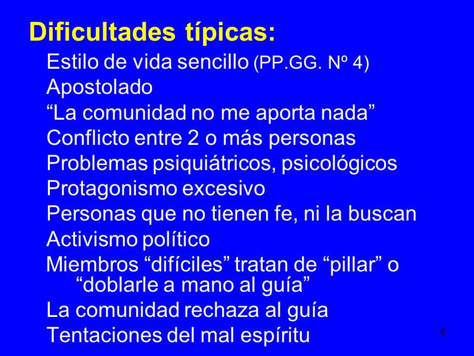 6 Dificultades típicas: Estilo de vida sencillo (PP.GG.