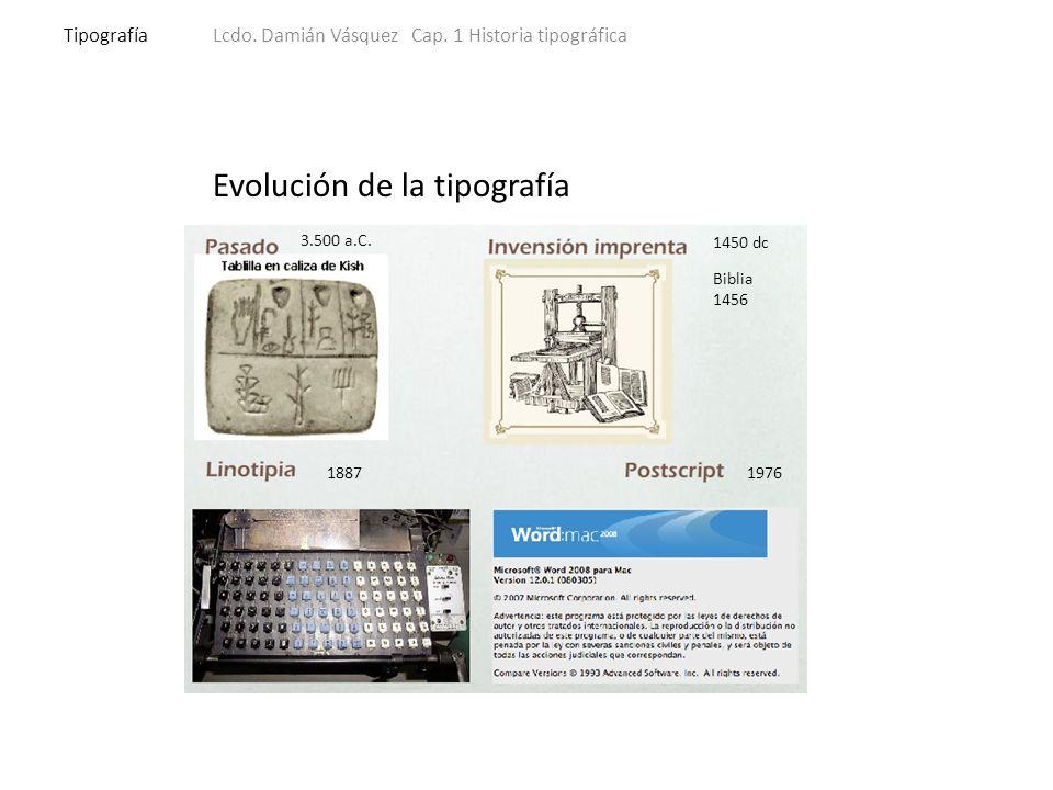 Evolución de la tipografía 3.500 a.C. 1450 dc Biblia 1456 1887 1976 TipografíaLcdo.