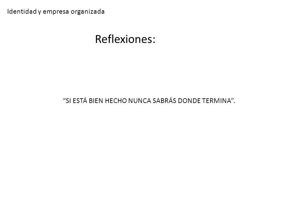 Identidad y empresa organizada Reflexiones: SI ESTÁ BIEN HECHO NUNCA SABRÁS DONDE TERMINA.