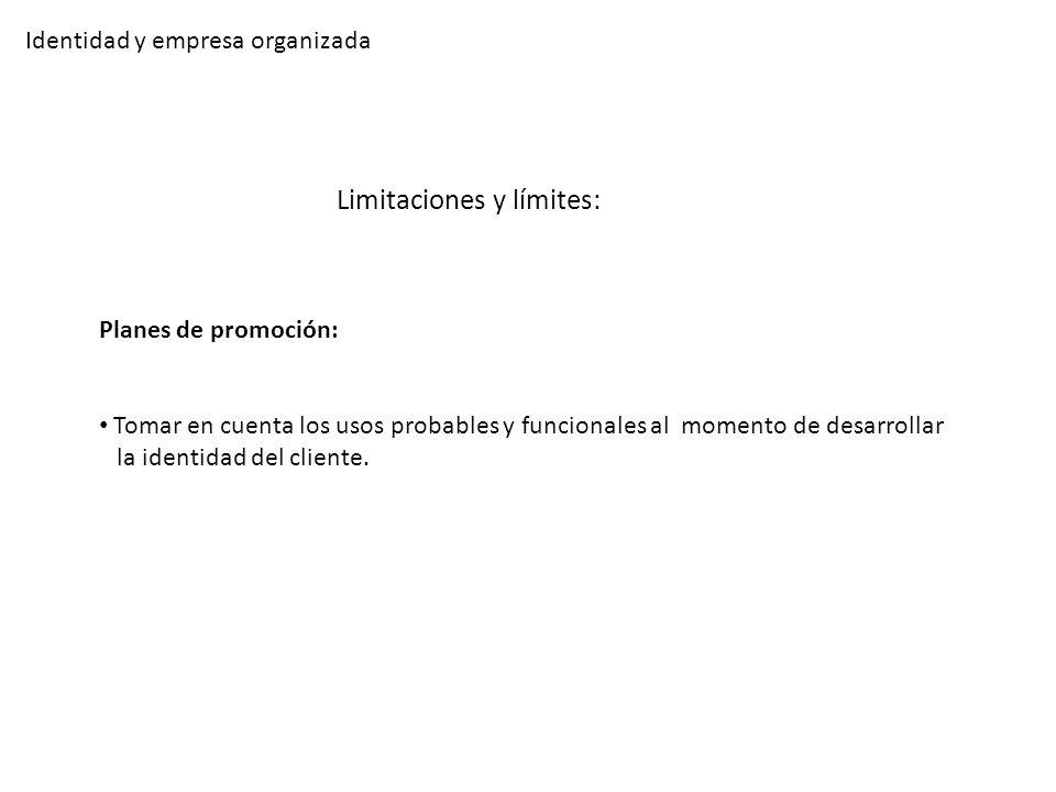 Identidad y empresa organizada Limitaciones y límites: Planes de promoción: Tomar en cuenta los usos probables y funcionales al momento de desarrollar