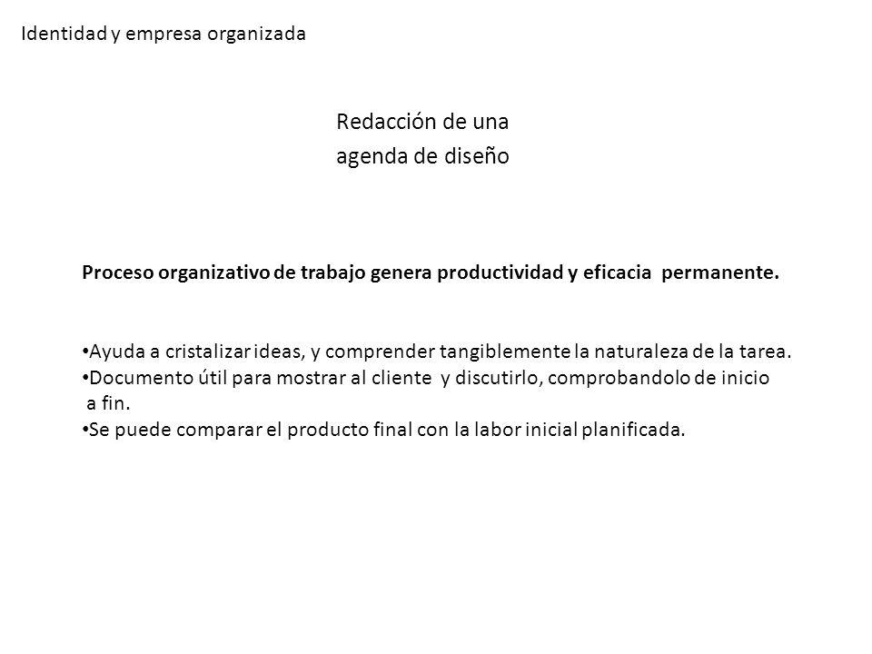 Identidad y empresa organizada Redacción de una agenda de diseño Proceso organizativo de trabajo genera productividad y eficacia permanente. Ayuda a c