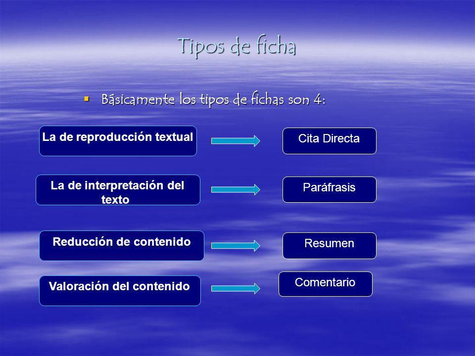 Tipos de ficha Básicamente los tipos de fichas son 4: Básicamente los tipos de fichas son 4: La de reproducción textual La de interpretación del texto