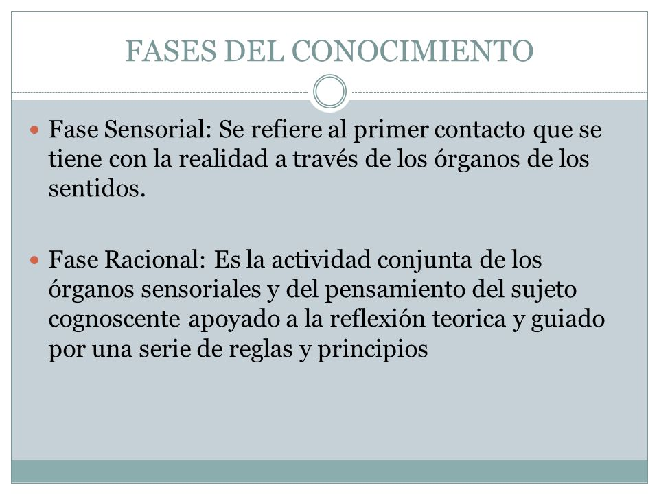 FASES DEL CONOCIMIENTO Fase Sensorial: Se refiere al primer contacto que se tiene con la realidad a través de los órganos de los sentidos.