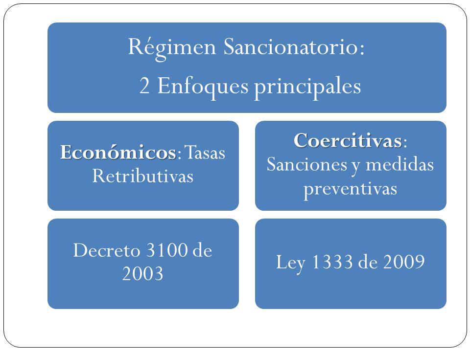 Régimen Sancionatorio: 2 Enfoques principales Económicos Económicos: Tasas Retributivas Decreto 3100 de 2003 Coercitivas Coercitivas: Sanciones y medi