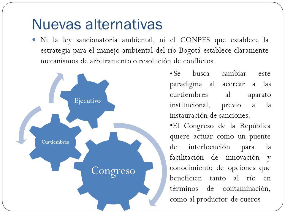 Nuevas alternativas Ni la ley sancionatoria ambiental, ni el CONPES que establece la estrategia para el manejo ambiental del río Bogotá establece clar