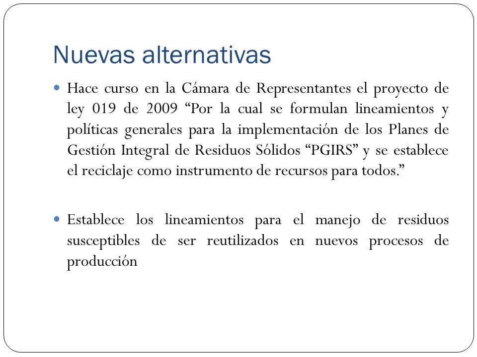Nuevas alternativas Hace curso en la Cámara de Representantes el proyecto de ley 019 de 2009 Por la cual se formulan lineamientos y políticas generale
