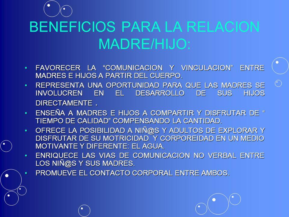 BENEFICIOS PARA LA RELACION MADRE/HIJO: FAVORECER LA COMUNICACION Y VINCULACION ENTRE MADRES E HIJOS A PARTIR DEL CUERPO.FAVORECER LA COMUNICACION Y V