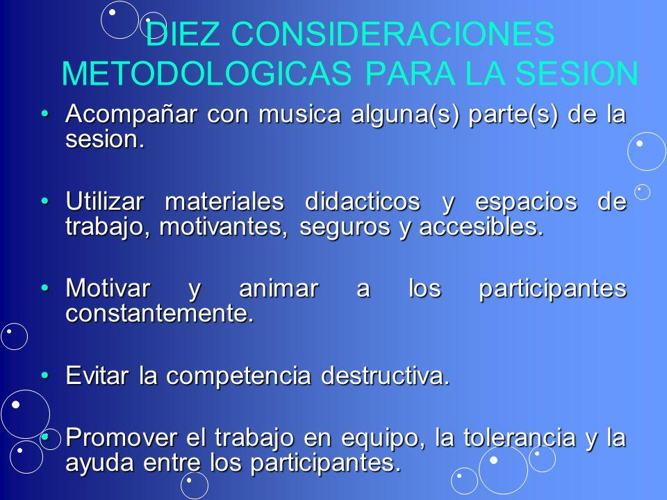 DIEZ CONSIDERACIONES METODOLOGICAS PARA LA SESION Acompañar con musica alguna(s) parte(s) de la sesion.Acompañar con musica alguna(s) parte(s) de la s