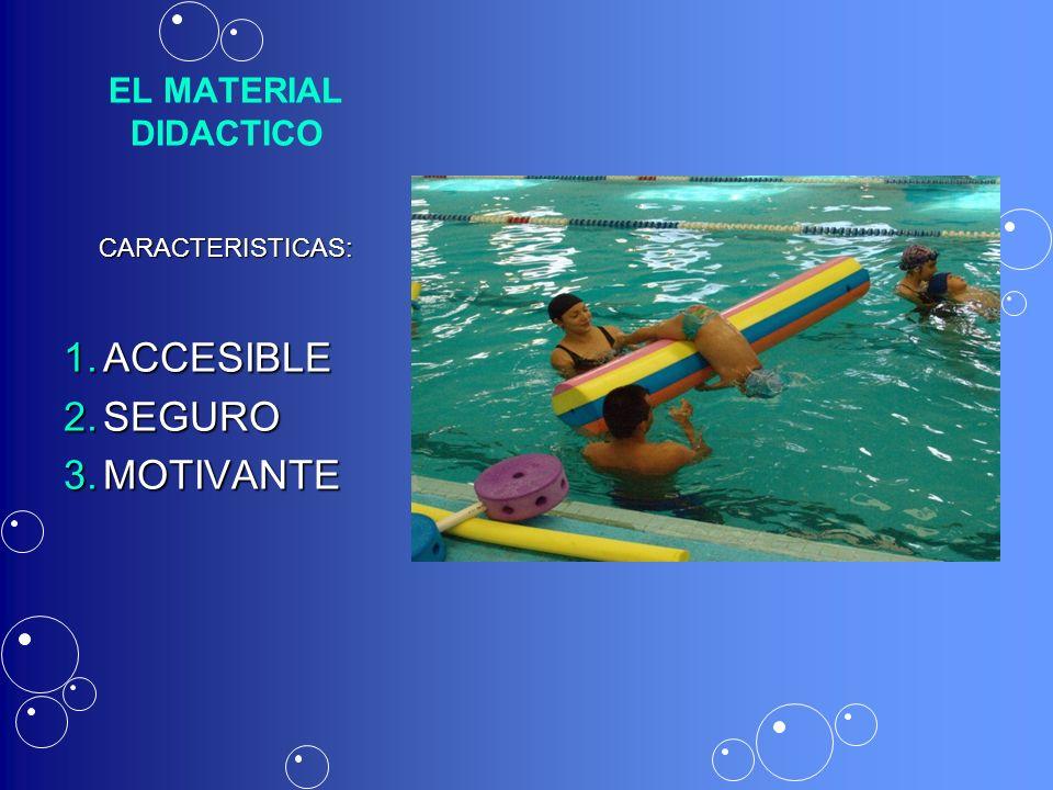 EL MATERIAL DIDACTICO CARACTERISTICAS: 1.ACCESIBLE 2.SEGURO 3.MOTIVANTE