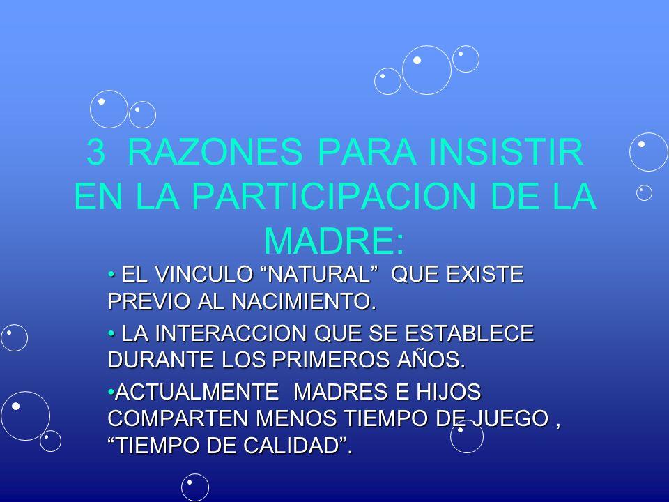 3 RAZONES PARA INSISTIR EN LA PARTICIPACION DE LA MADRE: EL VINCULO NATURAL QUE EXISTE PREVIO AL NACIMIENTO. EL VINCULO NATURAL QUE EXISTE PREVIO AL N