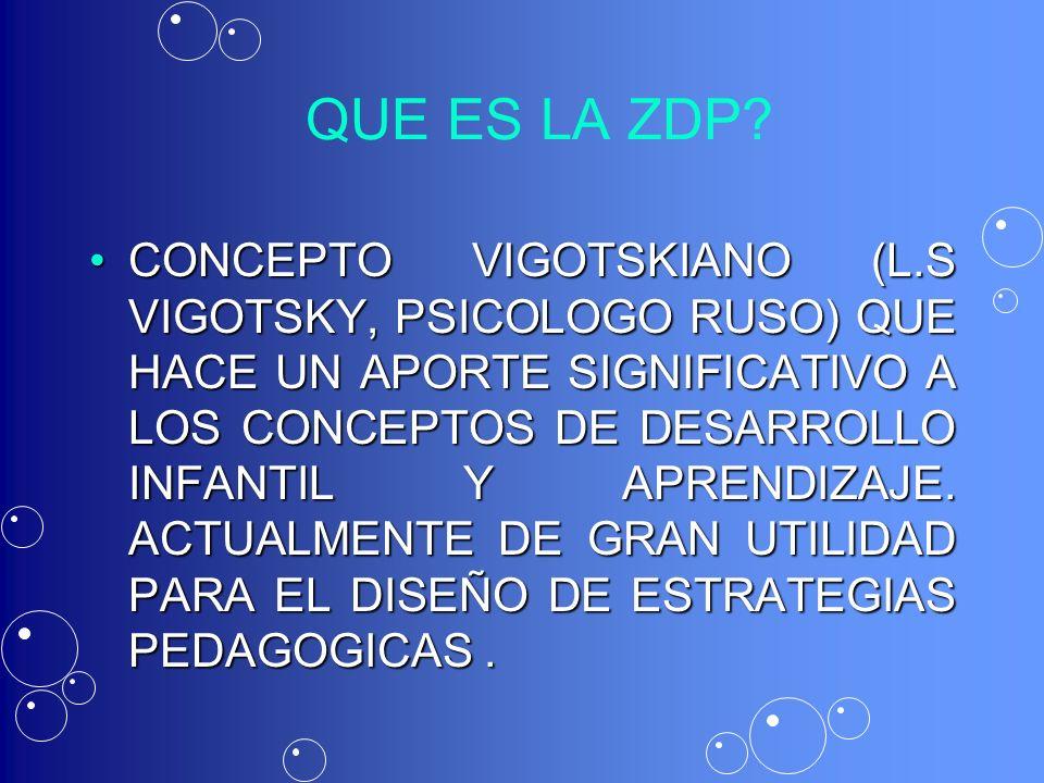 QUE ES LA ZDP? CONCEPTO VIGOTSKIANO (L.S VIGOTSKY, PSICOLOGO RUSO) QUE HACE UN APORTE SIGNIFICATIVO A LOS CONCEPTOS DE DESARROLLO INFANTIL Y APRENDIZA
