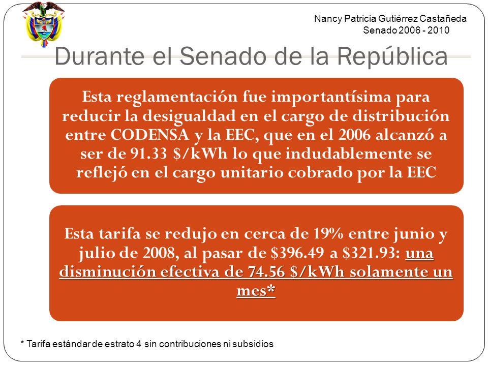 Nancy Patricia Gutiérrez Castañeda Senado 2006 - 2010 Durante el Senado de la República Esta reglamentación fue importantísima para reducir la desigualdad en el cargo de distribución entre CODENSA y la EEC, que en el 2006 alcanzó a ser de 91.33 $/kWh lo que indudablemente se reflejó en el cargo unitario cobrado por la EEC una disminución efectiva de 74.56 $/kWh solamente un mes* Esta tarifa se redujo en cerca de 19% entre junio y julio de 2008, al pasar de $396.49 a $321.93: una disminución efectiva de 74.56 $/kWh solamente un mes* * Tarifa estándar de estrato 4 sin contribuciones ni subsidios