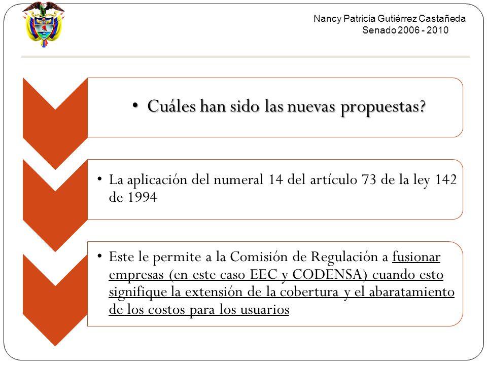 Nancy Patricia Gutiérrez Castañeda Senado 2006 - 2010 Cuáles han sido las nuevas propuestas?Cuáles han sido las nuevas propuestas? La aplicación del n