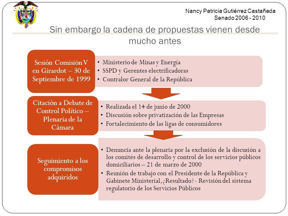 Nancy Patricia Gutiérrez Castañeda Senado 2006 - 2010 Sin embargo la cadena de propuestas vienen desde mucho antes Ministerio de Minas y Energía SSPD