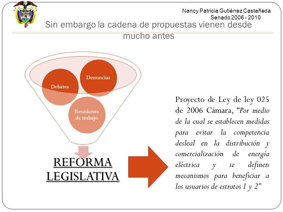 Nancy Patricia Gutiérrez Castañeda Senado 2006 - 2010 Sin embargo la cadena de propuestas vienen desde mucho antes REFORMA LEGISLATIVA Reuniones de tr