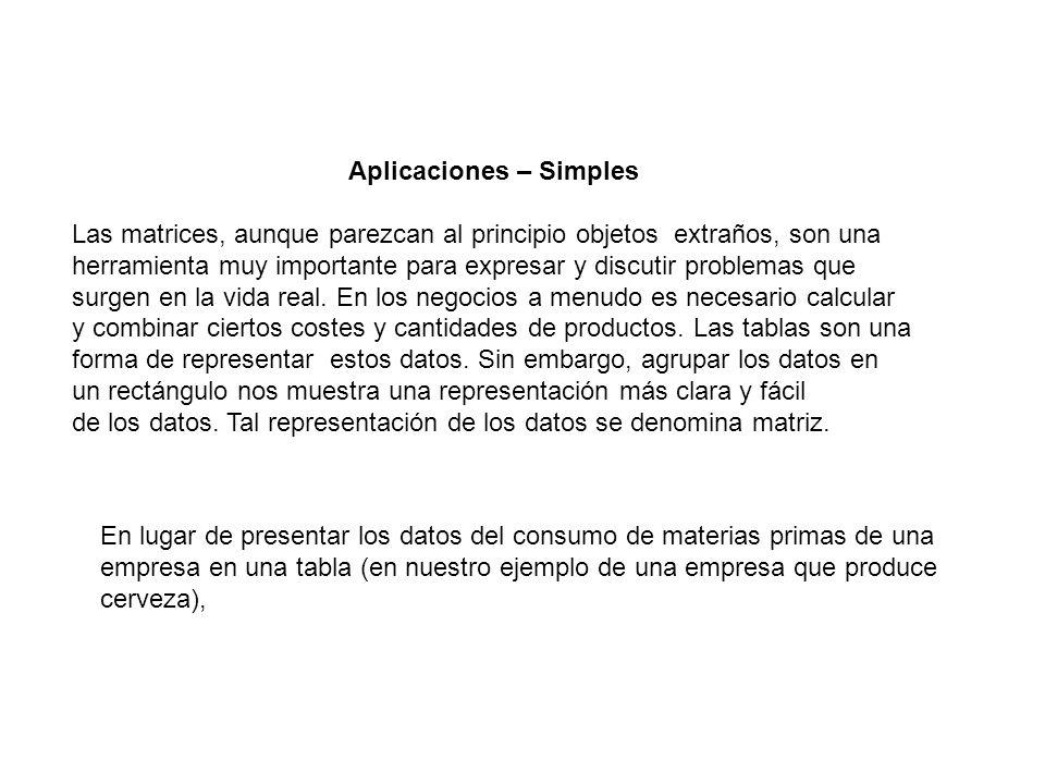 Aplicaciones – Simples Las matrices, aunque parezcan al principio objetos extraños, son una herramienta muy importante para expresar y discutir proble