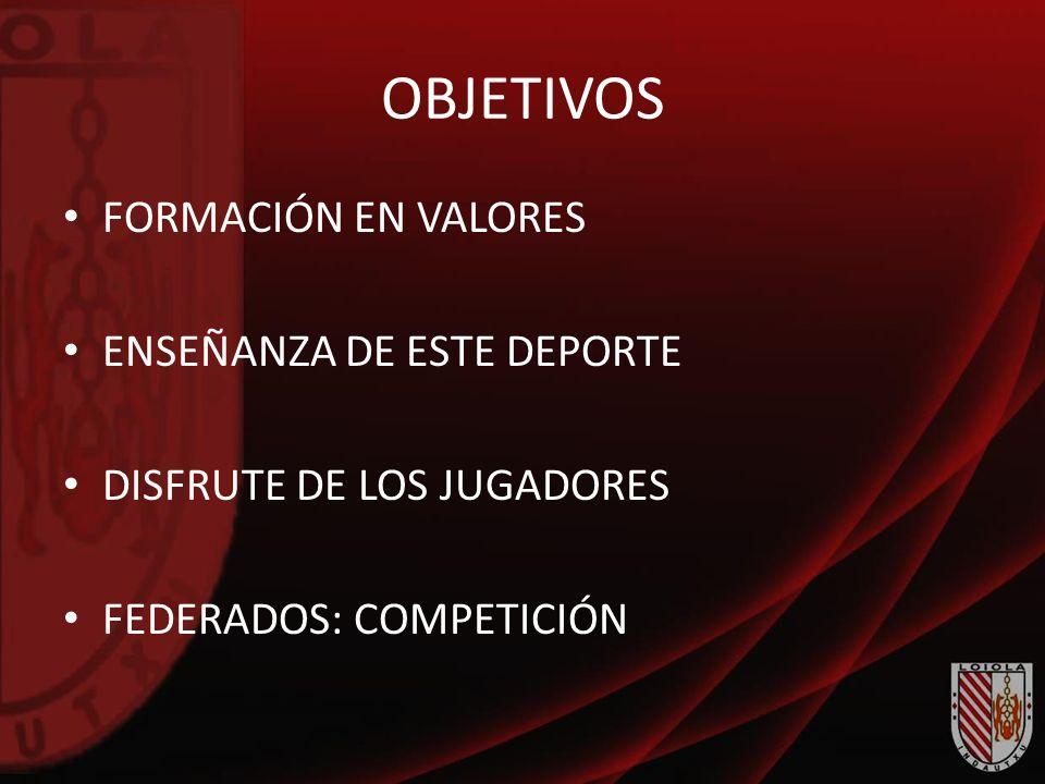 OBJETIVOS FORMACIÓN EN VALORES ENSEÑANZA DE ESTE DEPORTE DISFRUTE DE LOS JUGADORES FEDERADOS: COMPETICIÓN