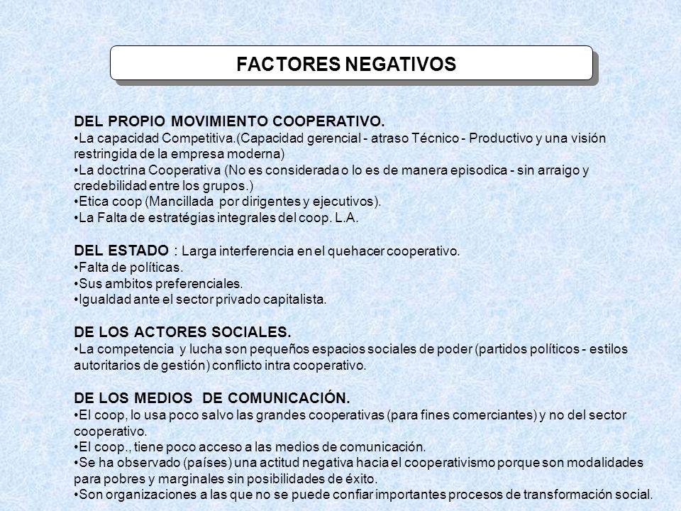 FACTORES NEGATIVOS DEL PROPIO MOVIMIENTO COOPERATIVO. La capacidad Competitiva.(Capacidad gerencial - atraso Técnico - Productivo y una visión restrin