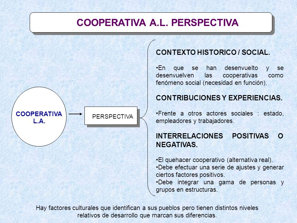 COOPERATIVA A.L. PERSPECTIVA COOPERATIVA L.A. PERSPECTIVA CONTEXTO HISTORICO / SOCIAL. En que se han desenvuelto y se desenvuelven las cooperativas co