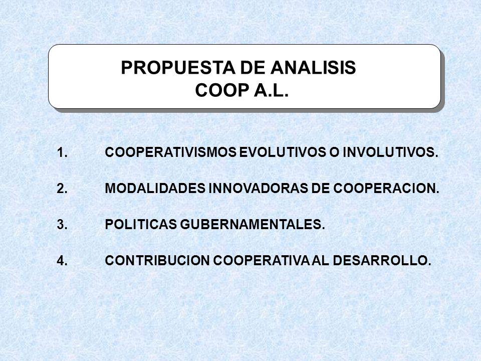PROPUESTA DE ANALISIS COOP A.L. 1.COOPERATIVISMOS EVOLUTIVOS O INVOLUTIVOS. 2.MODALIDADES INNOVADORAS DE COOPERACION. 3.POLITICAS GUBERNAMENTALES. 4.C