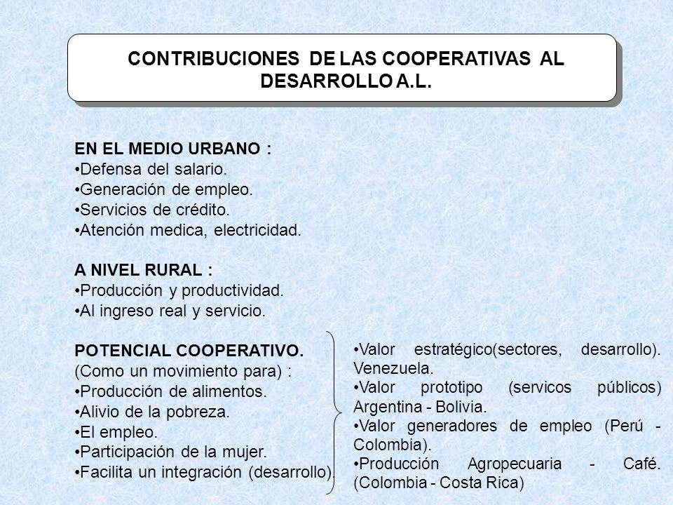 CONTRIBUCIONES DE LAS COOPERATIVAS AL DESARROLLO A.L. EN EL MEDIO URBANO : Defensa del salario. Generación de empleo. Servicios de crédito. Atención m