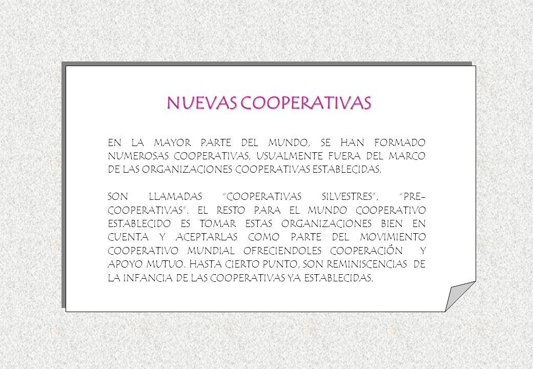 EN LA MAYOR PARTE DEL MUNDO, SE HAN FORMADO NUMEROSAS COOPERATIVAS, USUALMENTE FUERA DEL MARCO DE LAS ORGANIZACIONES COOPERATIVAS ESTABLECIDAS. SON LL