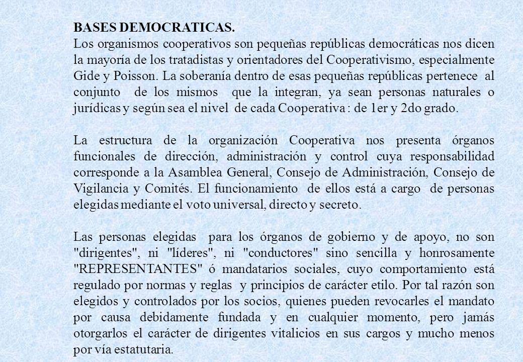BASES DEMOCRATICAS. Los organismos cooperativos son pequeñas repúblicas democráticas nos dicen la mayoría de los tratadistas y orientadores del Cooper