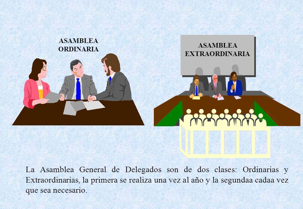 La Asamblea General de Delegados son de dos clases: Ordinarias y Extraordinarias, la primera se realiza una vez al año y la segundaa cadaa vez que sea