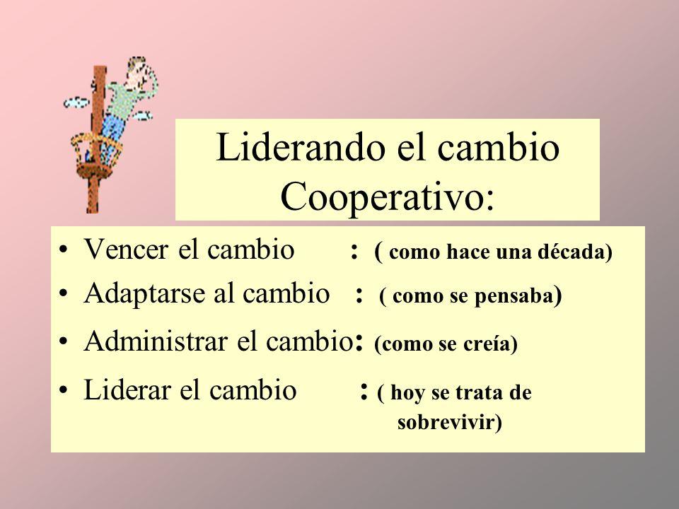 Liderando el cambio Cooperativo: Vencer el cambio : ( como hace una década) Adaptarse al cambio : ( como se pensaba ) Administrar el cambio : (como se