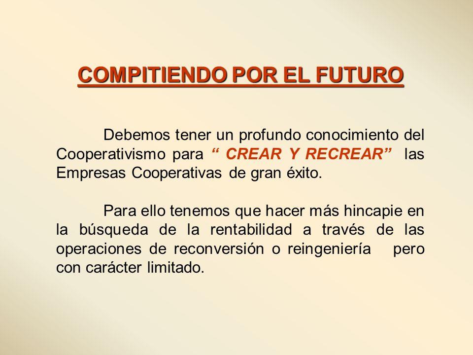 COMPITIENDO POR EL FUTURO Debemos tener un profundo conocimiento del Cooperativismo para CREAR Y RECREAR las Empresas Cooperativas de gran éxito. Para