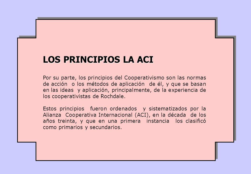 Por su parte, los principios del Cooperativismo son las normas de acción o los métodos de aplicación de él, y que se basan en las ideas y aplicación,