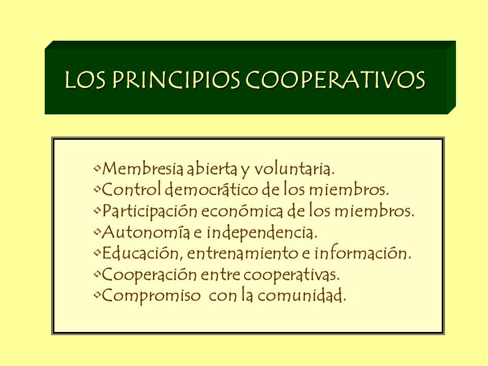 LOS PRINCIPIOS COOPERATIVOS Membresia abierta y voluntaria. Control democrático de los miembros. Participación económica de los miembros. Autonomía e